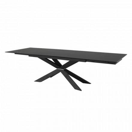 Roztažitelný stůl do 300 cm ze skla a černé oceli vyrobené v Itálii - Grotta