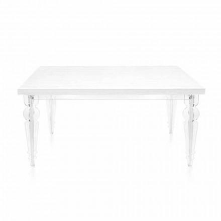 Roztažitelný stůl až do 255 cm v průhledném plexiskle a bílém dřevě - Fabo