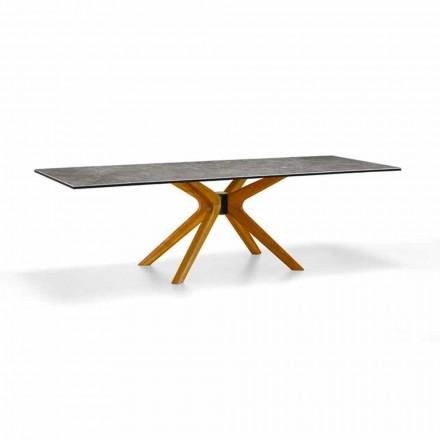 Roztažitelný stůl až do 260 cm z kameniny a dřeva, luxusní Made in Italy - Malita