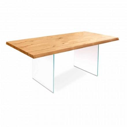Jídelní stůl v dubovou dýhou se skleněnými rameny Nico