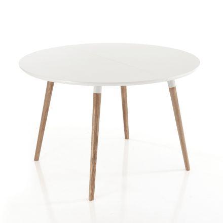 Roztahovací stůl ve dřevě, matná bílá podlaha Ian