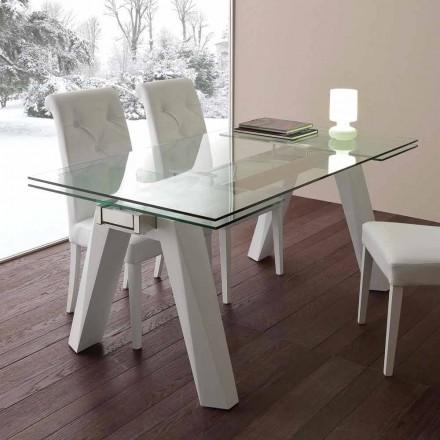 Skleněný stůl rozšiřitelný, z nerezové oceli a bílého kovu Florida