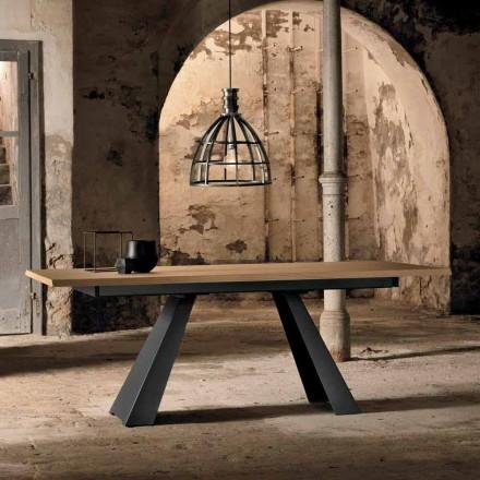 Moderní boční výsuvný stůl z dubového dřeva vyrobeného v Itálii, Zerba