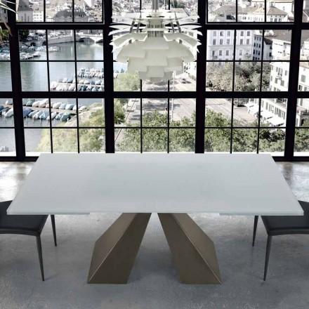 Moderní rozšiřitelný stůl ve skle a oceli 14 míst v Itálii - Dalmata