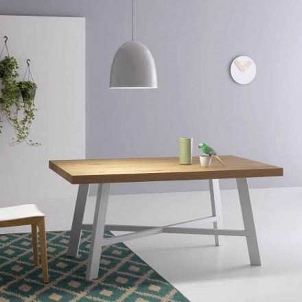 Moderní výsuvný stůl, povrch z masivního dřeva - Tricerro