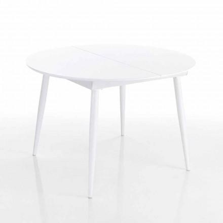 Kulatý výsuvný jídelní stůl v bílé Mdf - Ismaele