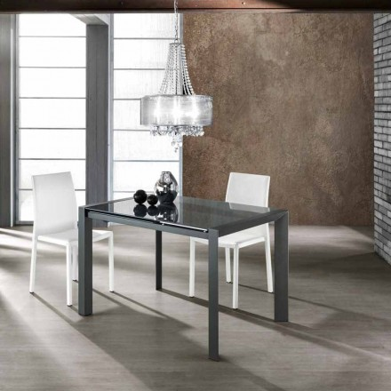 Roztahovací stůl z tvrzeného skla šedá malované kovu a Zeno