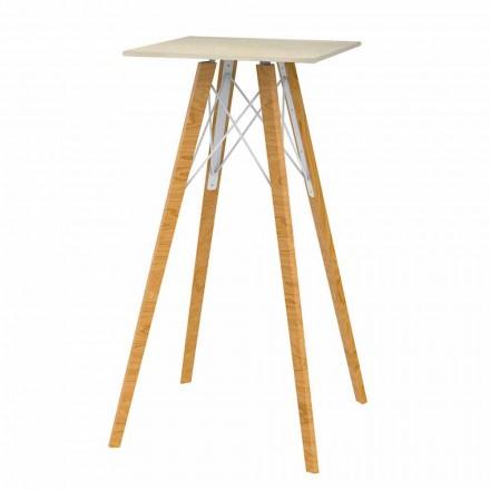 Čtvercový vysoký barový stůl ze dřeva a mramoru 4 kusy - dřevo Faz od společnosti Vondom