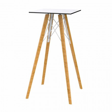 Čtvercový designový vysoký barový stůl ze dřeva a HPL, 4 kusy - dřevo Faz od společnosti Vondom