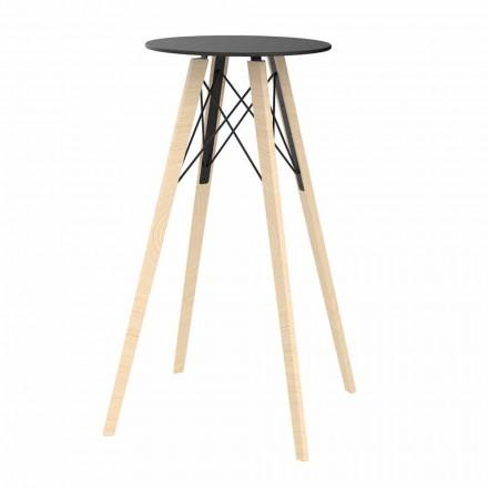 Kulatý designový vysoký barový stůl ze dřeva a HPL, 4 kusy - dřevo Faz od společnosti Vondom