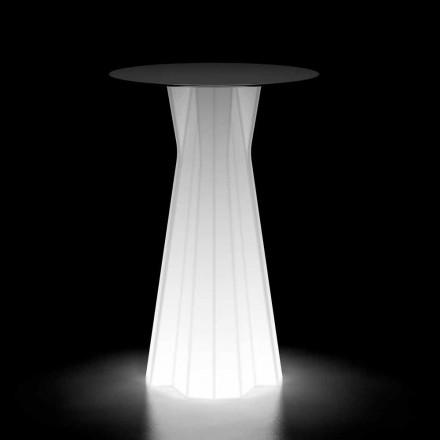 Venkovní vysoký stůl se světelnou základnou a deskou HPL vyrobený v Itálii - Tinuccia