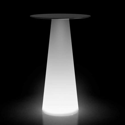 Venkovní vysoký stůl s LED světlem z HPL a polyethylenu vyrobený v Itálii - Forlina