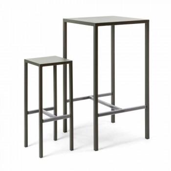 Barový stůl se 4 venkovními stoličkami z lakovaného kovu vyrobeného v Itálii - Fada