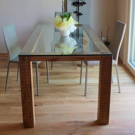 Stůl s křišťálovou deskou a modero popelem vyrobeným v Itálii - Asella