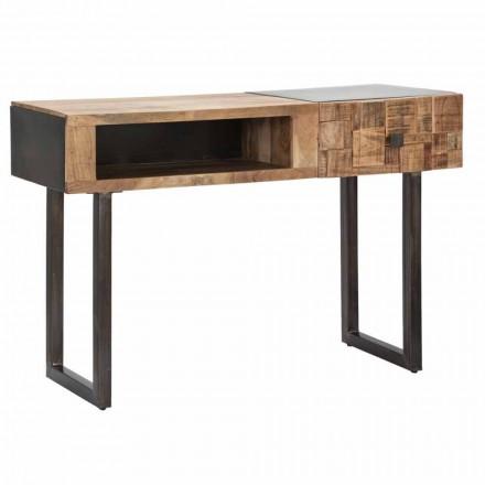Stůl konzoly na železo a akácie s zásuvkou na design - Dena