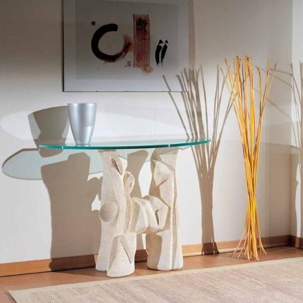 Konzolní stůl ručně vyřezávaný v krystalu Vicenza Stone a Dios