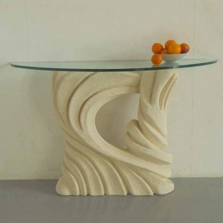 Konzolová stůl ve Vicenza Stone, ručně vyřezávaná Emerem