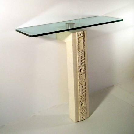 Obdélníkový stůl s konzolí v krytu Vicenza Stone a Abidos