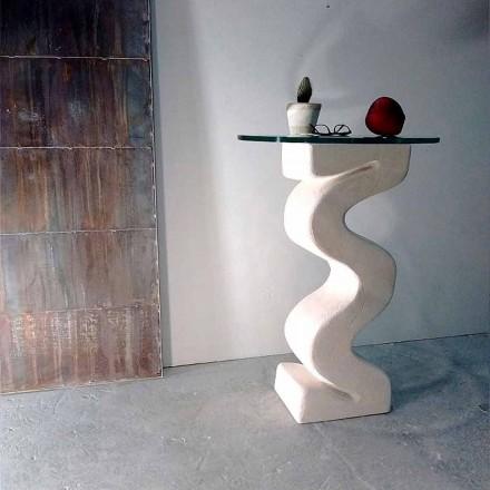Kulatý stůl ve Vicenza Stone, ručně tvarovaný Babylasem