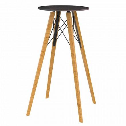 Kulatý vysoký barový stůl ze dřeva a mramoru s efektem 4 kusy - dřevo Faz od společnosti Vondom