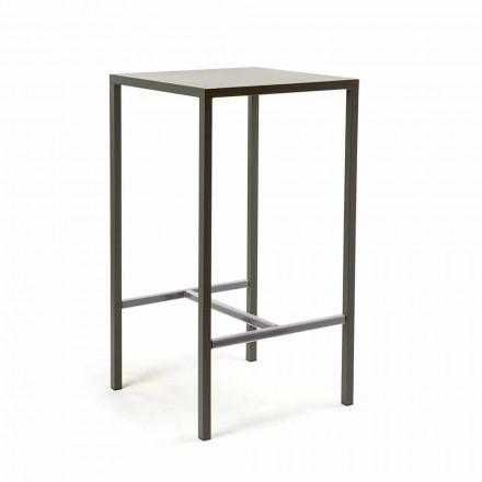 Venkovní lakovaný kovový čtvercový barový stůl vyrobený v Itálii - Fada