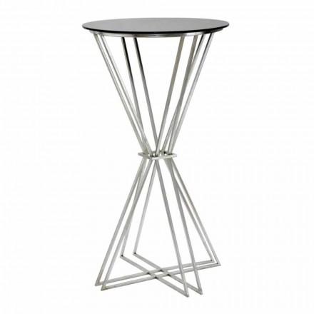 Kulatý barový stůl moderního designu v železo a sklo - Benita