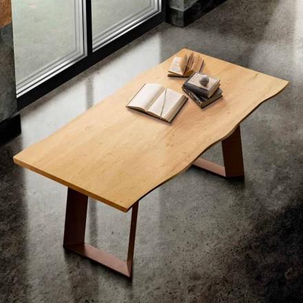 Jídelní stůl z masivu a kovu vyrobený v Itálii, Flora