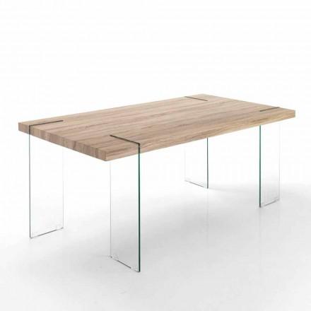 Moderní kuchyňský stůl s Mdf top a skleněnou základnou - Joey