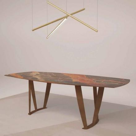 Luxusní obdélníkový stůl v Ombra Marble od Caravaggia a Metal - Naruto