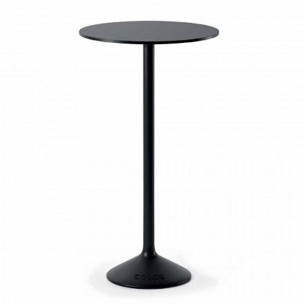 Vysoký kulatý venkovní stůl z litiny a HPL vyrobené v Itálii - Condor