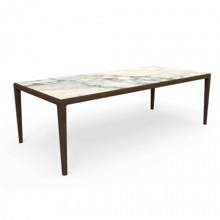 Venkovní designový stůl z teakového dřeva a kameniny Capraia - Cruise Teak Talenti