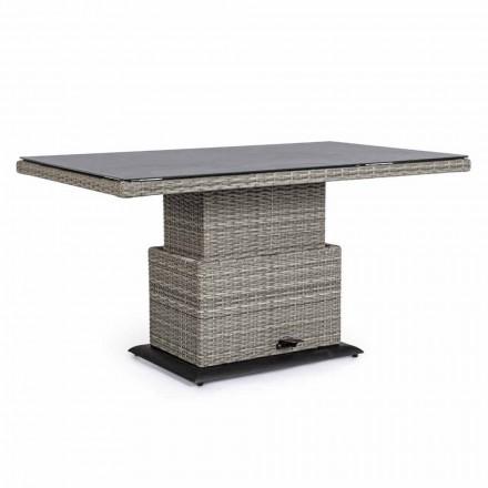 Venkovní stůl z keramického a syntetického vlákna, nastavitelná výška - Claire