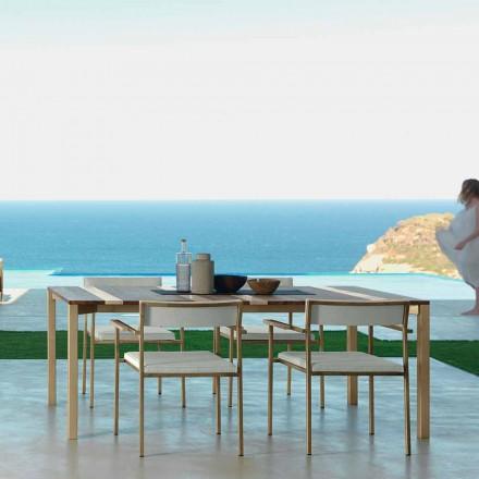 Moderní dřevěný a nerezový venkovní stůl 200x100 Casilda Talenti