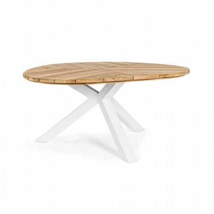 Kulatý venkovní stůl z teaku s hliníkovou základnou, Homemotion - Selenia