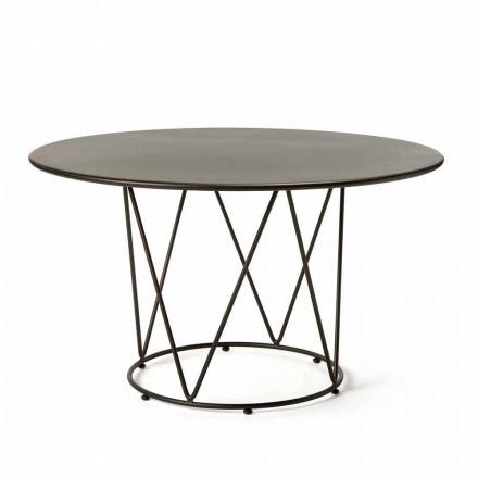 Kulatý moderní venkovní stůl z lakovaného kovu vyrobený v Itálii - Ibra