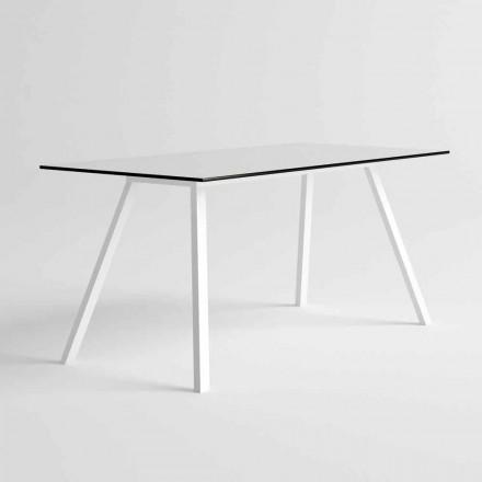 Zahradní stůl z bílého hliníku a HPL laminátu Moderní design - Oceania2