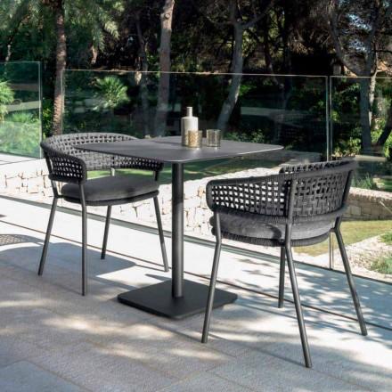 Měsíc Alu moderní zahradní stůl od Talenti, 80x80 s keramikou