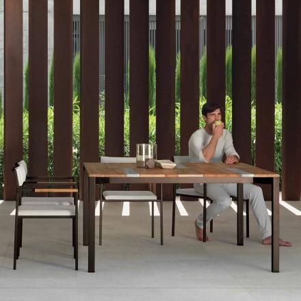 Zahradní stůl Casilda Talenti ze dřeva a nerezové oceli 150x150 cm