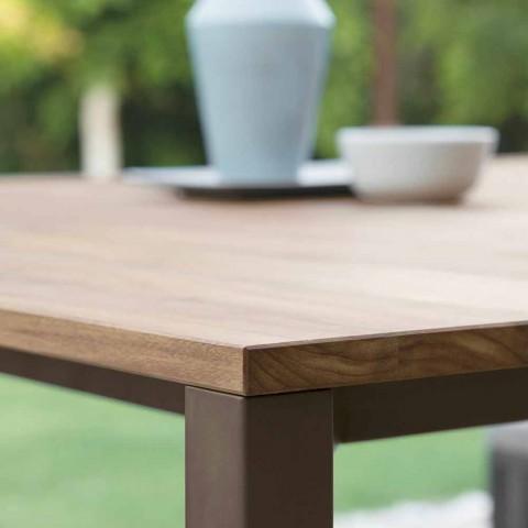 Casilda Talenti dřevěný a nerezový zahradní stůl 150x150 cm