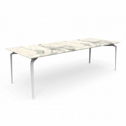 Moderní obdélníkový zahradní stůl v kamenina a hliník - Cruise Alu Talenti