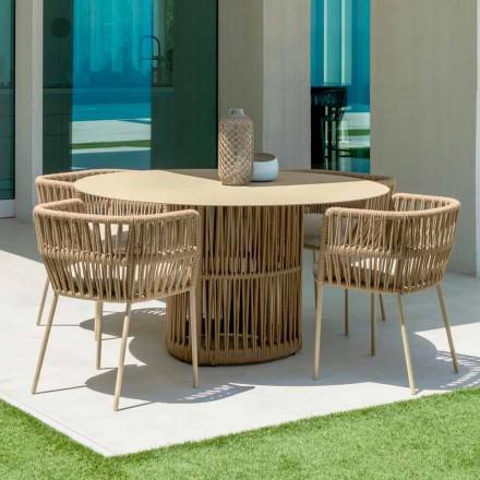 Zahradní stůl s okrouhlým oknem od firmy Talenti, z hliníku, navržený Palombou