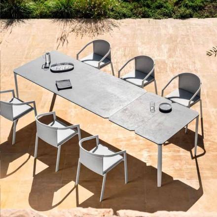 Venkovní rozkládací jídelní stůl 318 cm z hliníku a kameniny - Filomena