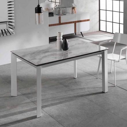 Rozkládací jídelní stůl s mramorovým efektem keramický vrch, Nosate