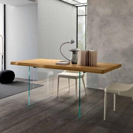 Roztažitelný jídelní stůl až 280 cm ze dřeva a skla vyrobený v Itálii - Focus
