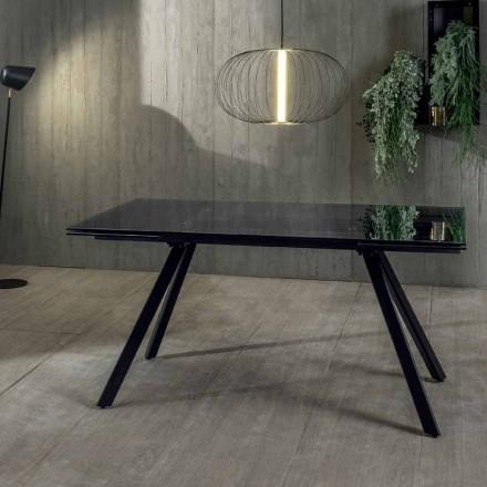 Roztažitelný jídelní stůl až 240 cm ve tvrzeném černém fumé skle - Fener