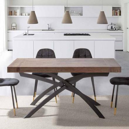 Roztažitelný jídelní stůl až 260 cm v melaminovém dřevě a kovu - Lukas