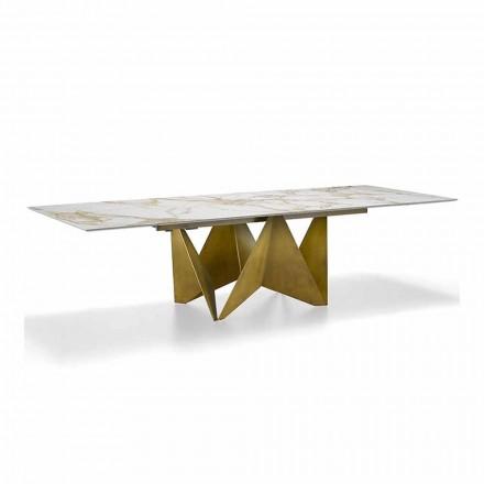 Luxusní výsuvný stůl do 294 cm v mramorovém kameni Made in Italy - makro