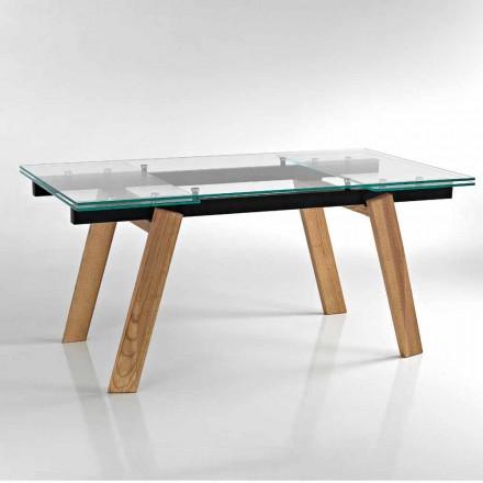 Moderní rozšiřitelný jídelní stůl ve skle vyrobený v Itálii, Azad