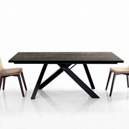 Rozkládací jídelní stůl ze skleněné keramiky vyrobený v Itálii, Wilmer