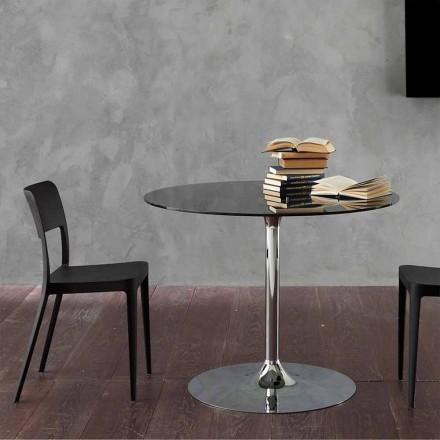 Jídelní stůl s křišťálovou deskou a pochromovanou základnou vyrobený v Itálii - Tallio